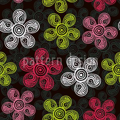 Blumenkunst Nahtloses Vektor Muster
