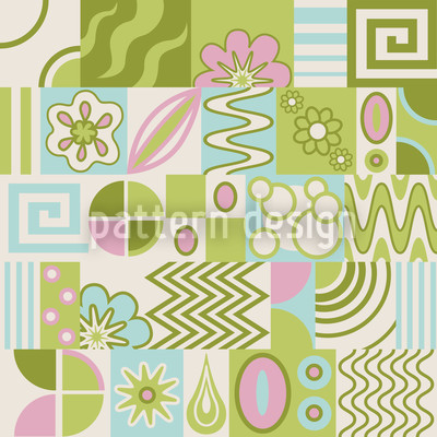 Retro Potpourri Green Repeating Pattern