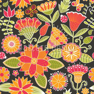 Cheerful Garden Folklore Pattern Design
