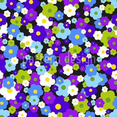 Blumentraum Im Retrokleid Nahtloses Vektor Muster