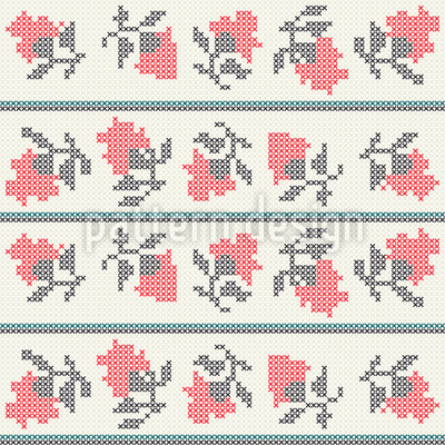 Embroidered Sea Of Flowers Seamless Pattern