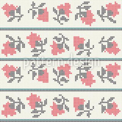 Gesticktes Blumenmeer Nahtloses Muster