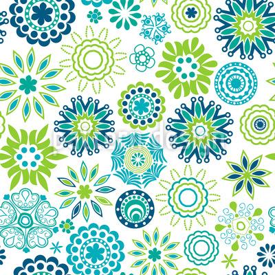 Frühlingsfrische Retro Blumen Nahtloses Vektormuster