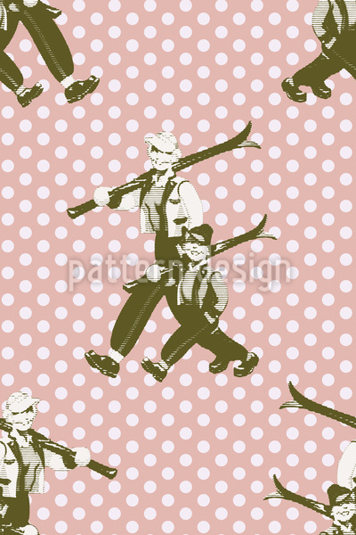 Fritz And Mum Go Skiing Seamless Vector Pattern Design