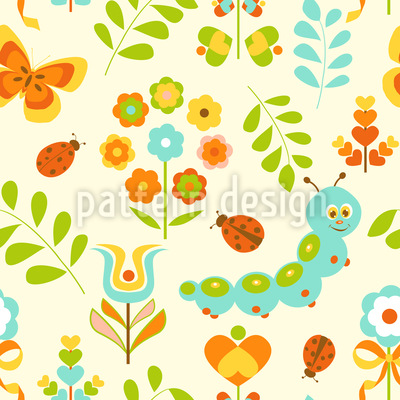 Caterpillar In The Wonderland Seamless Vector Pattern Design