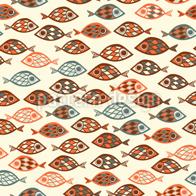 Swarms Of Fish Seamless Vector Pattern Design