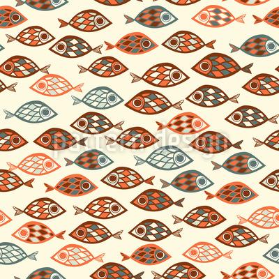 enxames de peixes Design de padrão vetorial sem costura