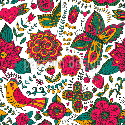 Fauna And Flora In Summer Seamless Vector Pattern Design