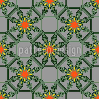 Floraler Drahtzaun Nahtloses Vektor Muster