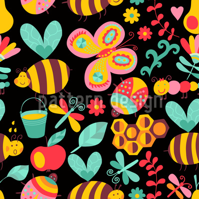 The Night Shift Of The Busy Honey Bees Pattern Design