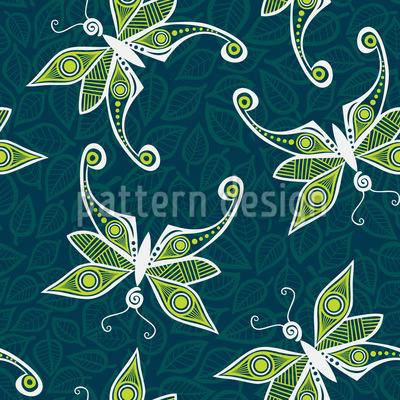 Butterflies On Foliage Seamless Pattern