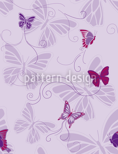 Butterflies On Violet Seamless Vector Pattern Design