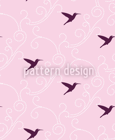 Violet Hummingbird Repeating Pattern