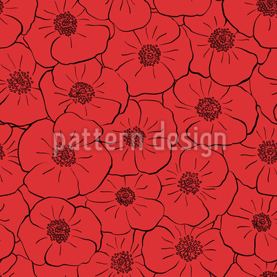 Delightful Poppy Field Seamless Vector Pattern Design