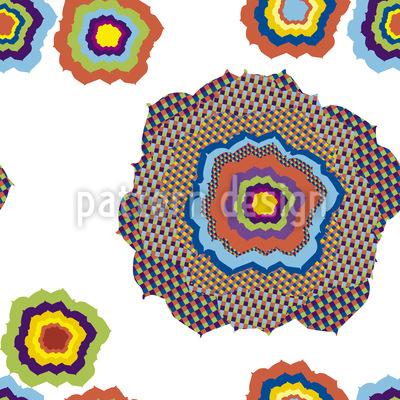 Pixel Flower Pop Seamless Vector Pattern Design