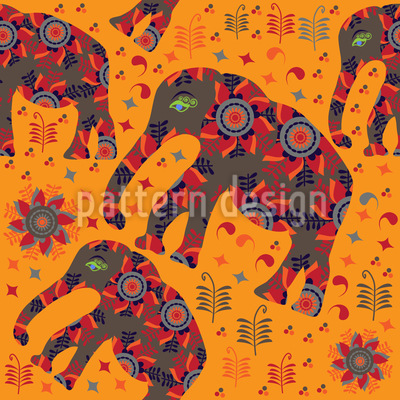 Bergwanderung Indischer Elefanten Vektor Muster