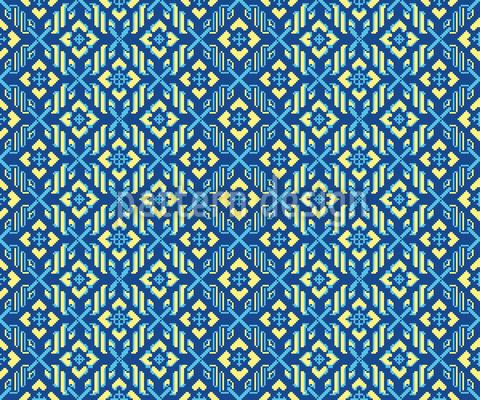Floral Pixel Magic Vector Ornament