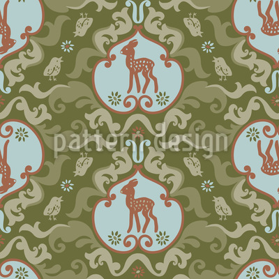 As The Birds Sang For The Fawn Seamless Vector Pattern