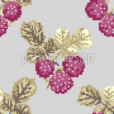 Heavenly Pixel Berries Vector Pattern