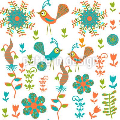Verrücktes Vogel Paradies Musterdesign