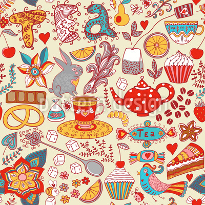 Tea Party In Summer Seamless Vector Pattern Design