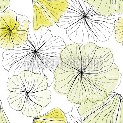 Hibiscus Blossoms Seamless Vector Pattern