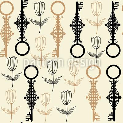 Key Flowers Seamless Vector Pattern