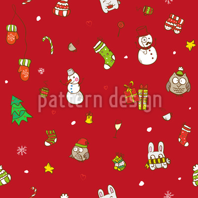 Funny Christmas Seamless Vector Pattern Design