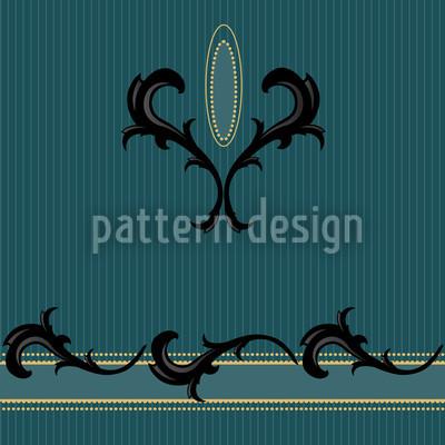 Teal Biedermeier Decor Pattern Design