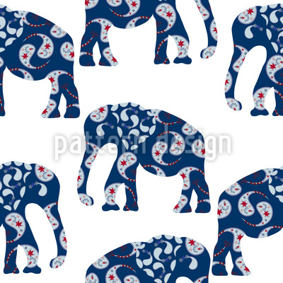 Patchwork Elephant Pattern Design