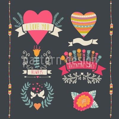 Jeder Tag Ist Valentinstag Vektor Muster
