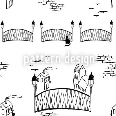 Kätzchenbrücke Weiss Nahtloses Vektormuster