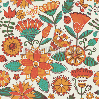 Enchanting Autumn Flowers Repeating Pattern