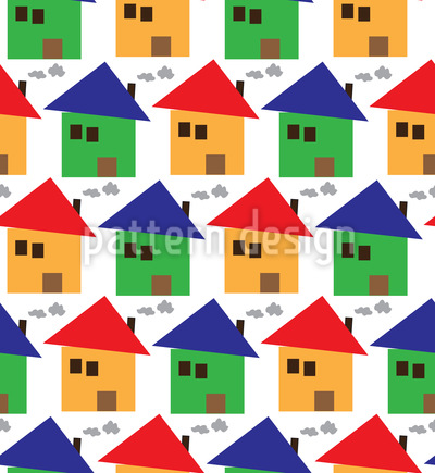 Friendly Houses Seamless Vector Pattern