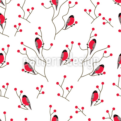 Finch On A Branch Repeating Pattern