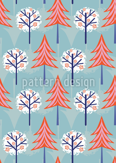 Snow Trees Vector Pattern