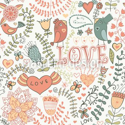 Be My Valentine Sweet Bird Pattern Design