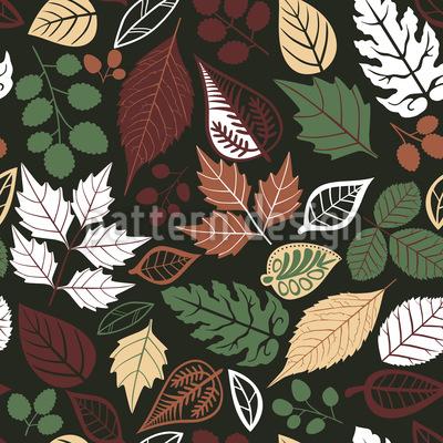 Blätter Im Dunkeln Nahtloses Muster
