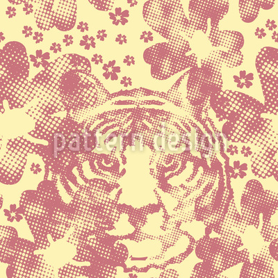 The Tiger In The Flower Garden Vector Ornament