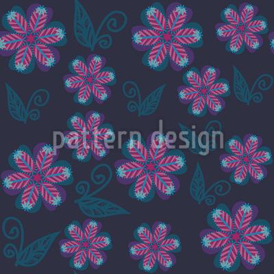 Melancholic Winter Flowers Vector Pattern