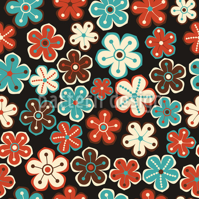 Autumn Meets Winter Flowers Repeat Pattern