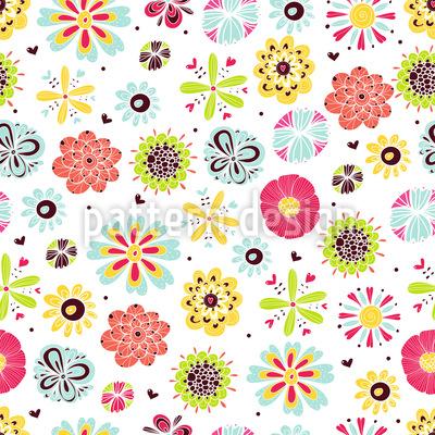 Blumen Leuchten Im Sommer Nahtloses Vektor Muster