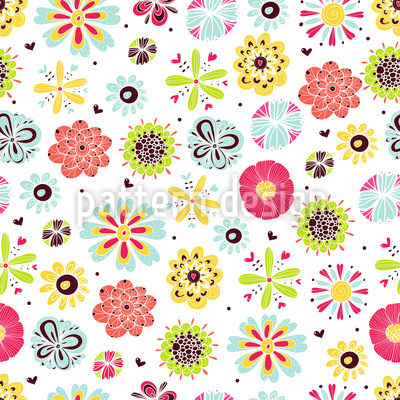 Flowers Shine In Summer Seamless Vector Pattern