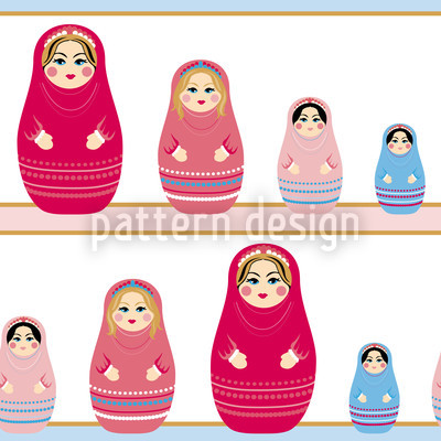Muñecas Baboushka Estampado Vectorial Sin Costura