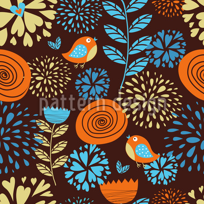 The Autumn Pleasures Of The Little Birds Pattern Design