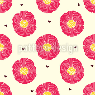 Schokoherz Und Blume Nahtloses Vektor Muster