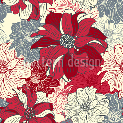 Longing For Dahlias Vector Pattern