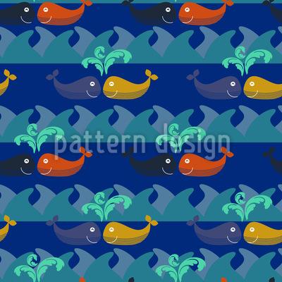 Verliebte Wale Treffen Sich Nachts Designmuster
