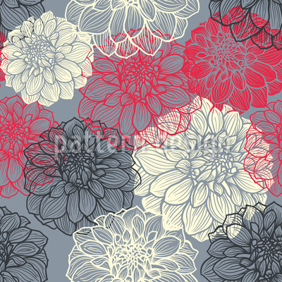 Bohemia Dahlia Seamless Vector Pattern Design