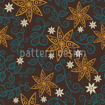 Filigree Star Flowers  Design Pattern